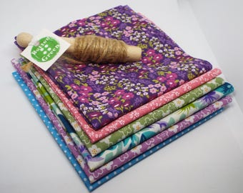 Floral Purple and Green poly cotton fabric x6, fat quarters, 25cm x 25cm