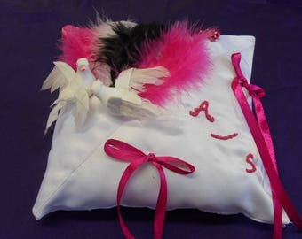 Fuchsia black and white wedding ring cushion