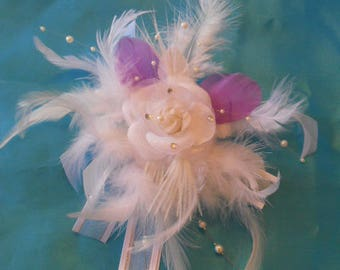 comb headpiece wedding. White and purple flower and feathers