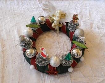 Christmas Wreath Red / Green Gold e / silver