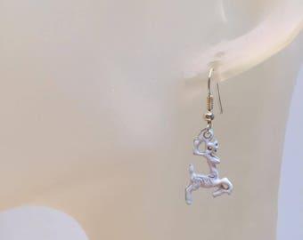 Reindeer charm earrings