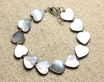 Bracelet 925 sterling silver and mother of Pearl hearts 12mm black
