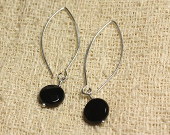 Sterling Silver 925 hooks 40mm - faceted beads 10mm black Onyx earrings
