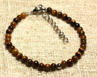 925 sterling silver and semi precious 4mm Tiger eye bracelet
