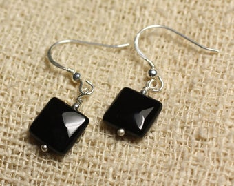 925 Sterling Silver earrings - Onyx black square faceted 10mm