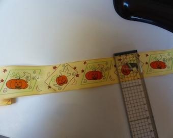 Ribbon width 4 cm pattern haloween pumpkin