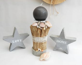 Candle holder sea * driftwood, shells and concrete