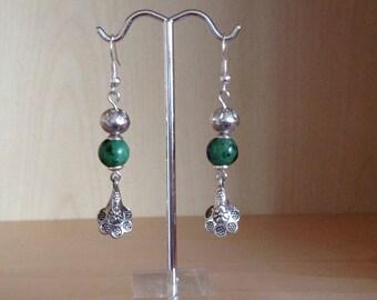 Pearl charm green stone Flower Earrings