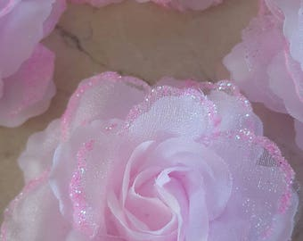 set of 4 8 cm light pink glitter flowers appliques