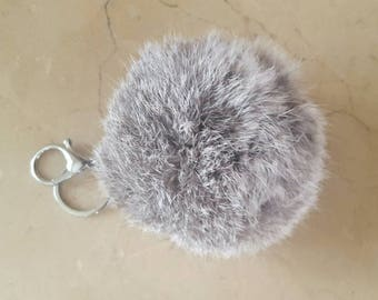 Large round genuine 11 cm rabbit fur Pom Pom