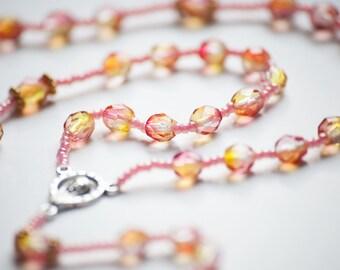 Pink Lemon All-Beaded Catholic Rosary