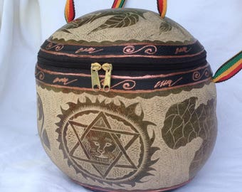 Calabash bag XXL lion/star/Africa/hank