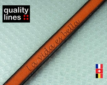 """X 18 cm, flat leather 10mm orange, """"the vida es bella, 18 cm is enough for a XL bracelet text is centered and only 1 cord holding"""""""