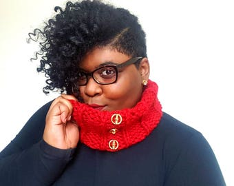 Red Chunky Scarf - Button Scarf - Chunky Bulky Knit Warm Cowl Neckwarmer Scarf