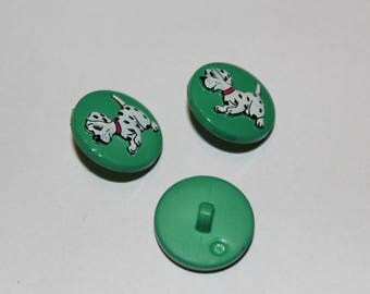 Fancy children patterned button green Dalmatian dog