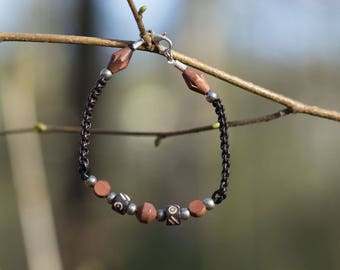 Man made leather and metal beads macrame bracelet, wood, Horn