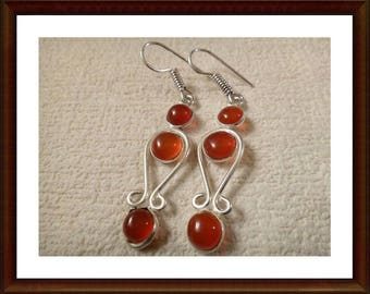 Earrings red Onyx and 925 sterling silver and stones - 65mm-