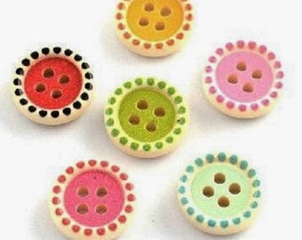 Set of 5 buttons 15 mm - colored wood - round dot - 4 holes