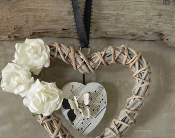 Wicker/music/Flower/Butterfly/black & white paper heart