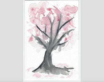 Japanese Tree with Blossom Watercolour painting - Print - Available in A4, A5 or A6