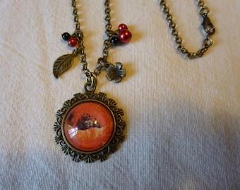 """""""Poppy"""" glass cabochon pendant necklace"""
