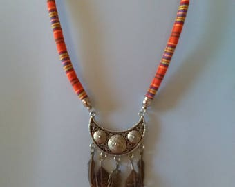 Ethnic necklace feathers and metal