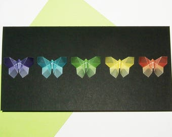 Set of 5 cards of five butterflies on black paper