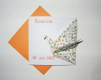 Set of 6 Origami crane Tangerine birth announcement