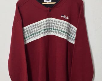 RARE!! Fila Big Spell Out Embroidery Sweatshirt Jumper Pullover Sweater Hoodies