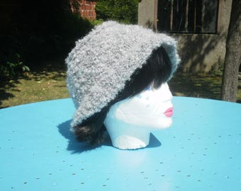 "Top hat ""cloche"" curly wool grey"