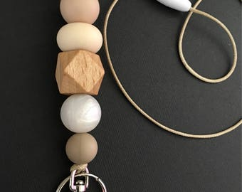 LANYARD Silicone & Wood bead CREAM
