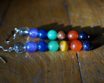 7 chakras gemstone earrings