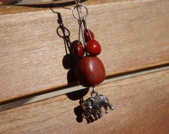 earrings with church wood seeds and Red Jasper