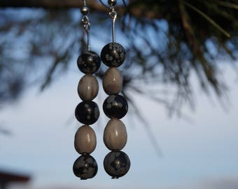 earrings with job's tears and snowflake Obsidian