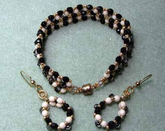 Black and Ivory Faceted Czech Beads with Swarovski Crystals - Bracelet and Matching Earrings