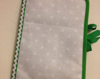 Health booklet has cross stitch Embroidery fabric green dots