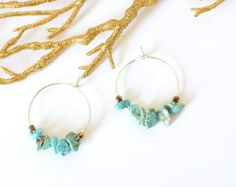 Blue hoop earrings silver Turquoise semiprecious beads