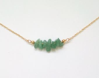 AVENTURA - Gold plated necklace adorned with aventurine