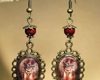 """""""Steampunk cat"""" earrings retro, steampunk, fantasy."""