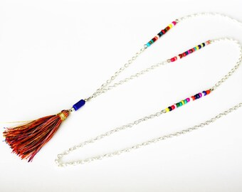 Multicolor necklace with tassel on chain