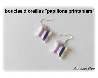 """""""butterflies spring"""" striped pink, purple and white earrings"""