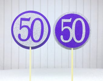 "50th Birthday Cupcake Toppers - Silver Glitter & Violet Purple ""50"" - Set of 12 - Elegant Cake Cupcake Age Topper Picks Party Decorations"
