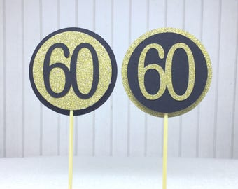 """60th Birthday Cupcake Toppers - Gold Glitter & Black """"60"""" - Set of 12 - Elegant Cake Cupcake Age Topper Picks Party Decorations"""