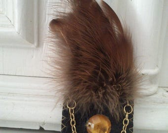 Brooch leather and real pheasant feathers