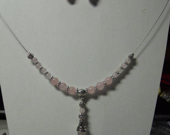 Fine wired genuine rose quartz set
