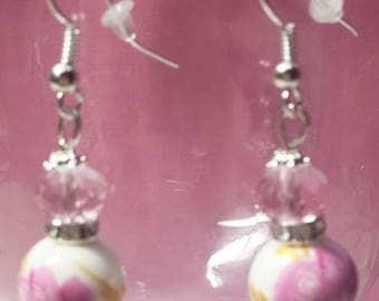 Porcelain and pink Swarovski crystal earrings