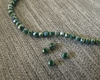 Green x 50 faceted, 4 X 3 cm, electroplate glass beads, Khaki, bright, reflecting 40mm x 30mm
