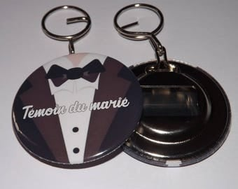 key badge with bottle opener on the back 58mm, best man (customizable, other text possible)