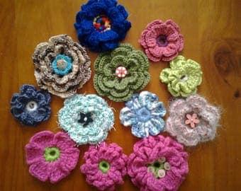 Set of crochet flowers handmade 10
