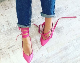 Leather heels sandals